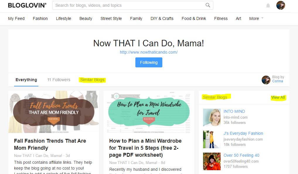 Start at a favorite blog and then work your way through the