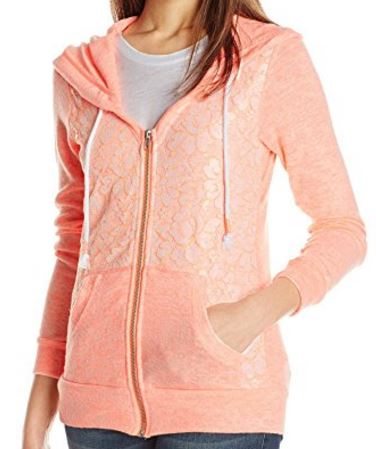 cute and feminine hoodie with lace detail, coral, pink (2).JPG