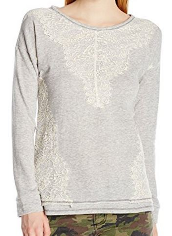 cute and feminine terry pullover sweater with lace detail (2).JPG