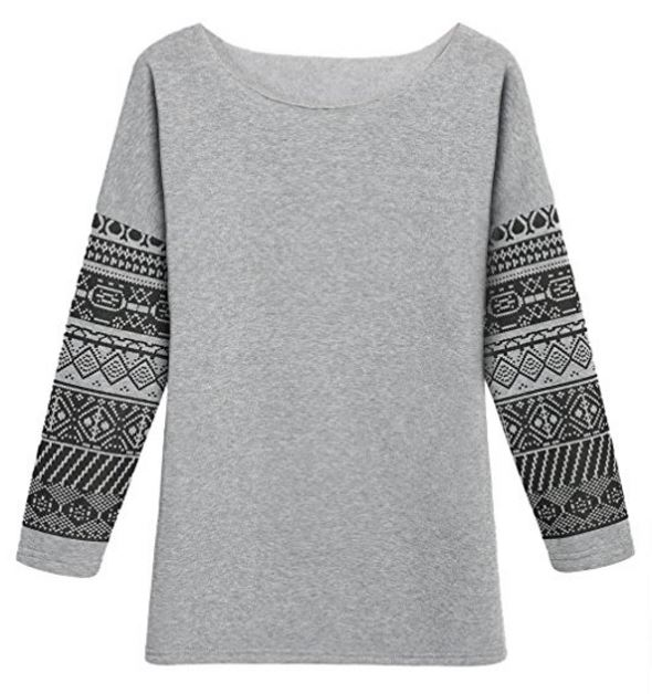 cute pullover sweater with tribal print detail.JPG