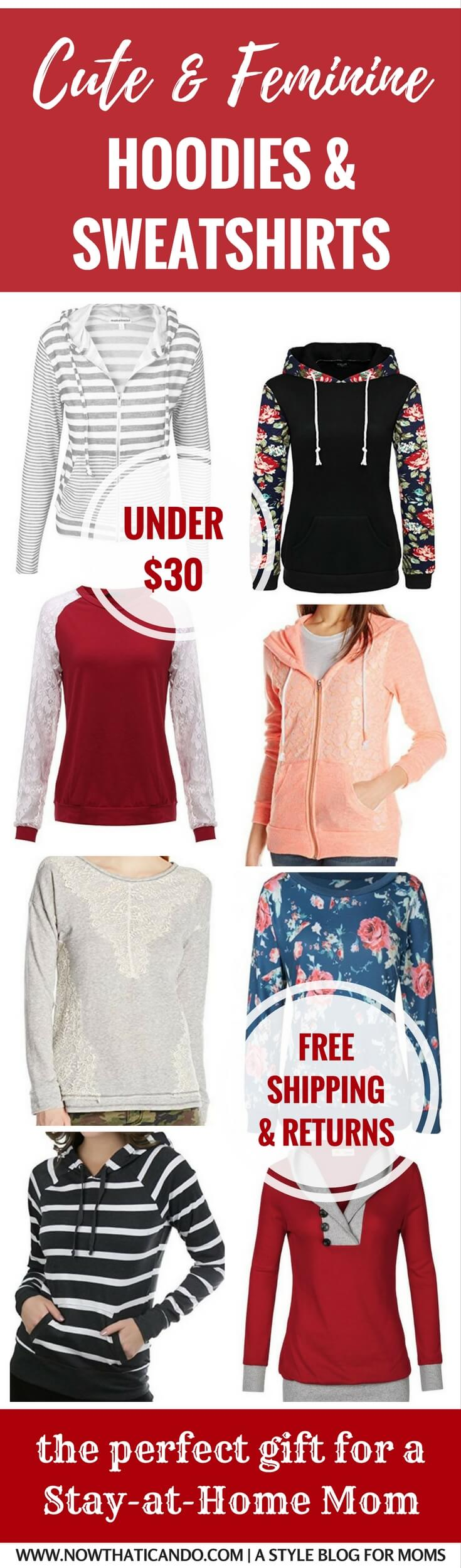 Perfect $30 gift for a busy mom! She can look cute while staying comfy in these feminine pullovers and hoodies on Amazon! So affordable too, under $30 with free shipping and returns! I want them all!