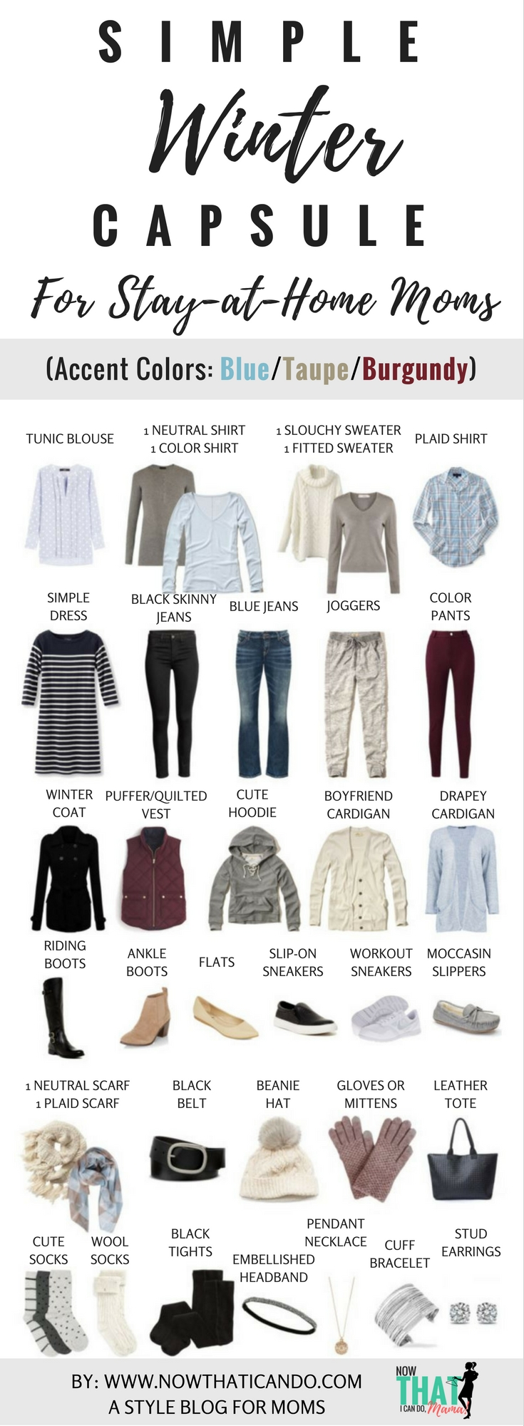 Effortless style is at your fingertips with this carefully designed wardrobe plan for busy moms! The colors are so beautiful! Blue, taupe, burgundy, olive... it's hard to decide which version I like better! The blog post has some amazing tips and the steps for coming up with all 130 plus outfit variations. There is also a free clothing planner checklist that you can print out and 7 free outfit layout ideas to get you started.