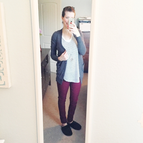 Easy Mom Outfit for Winter- Striped tunic blouse + boyfriend cardigan + burgundy pants + cozy slippers.jpg