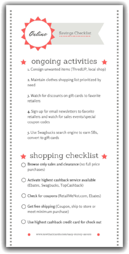 Online Savings Steps Checklist (free printable!)