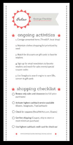 Online Savings Steps Checklist (free printable!)