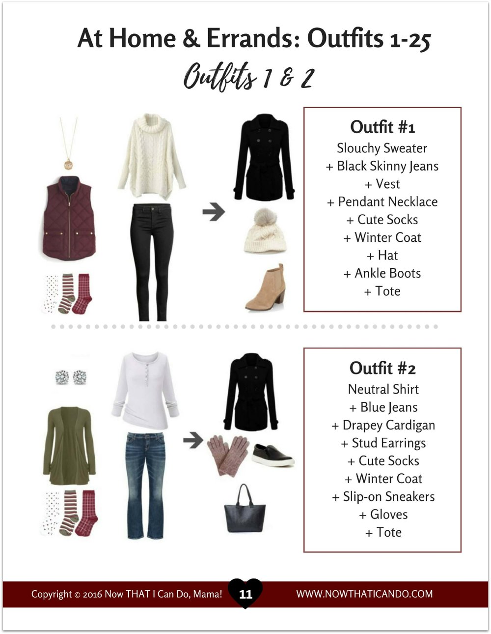 From the Winter Outfit Guide (Olive/White/Burgundy)