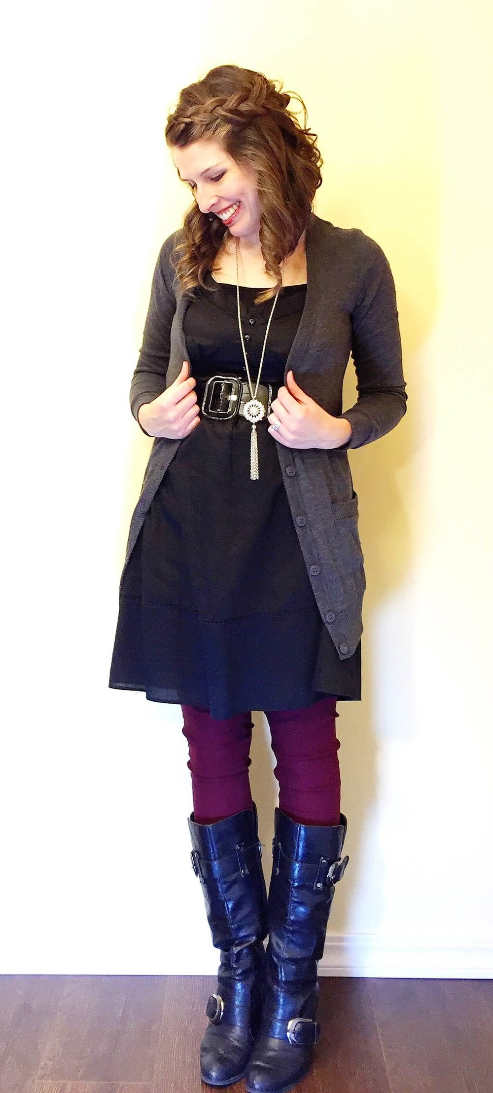 Dress + Belt + Cardigan + Boots