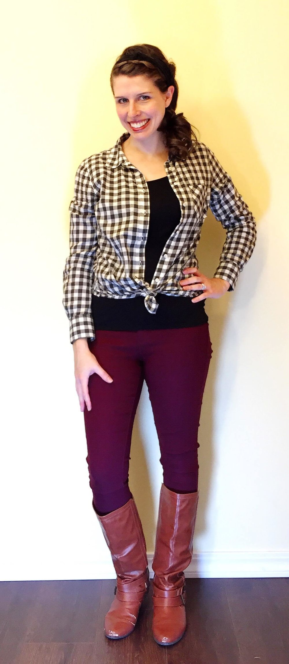 Gingham Plaid Tied + Cognac Boots
