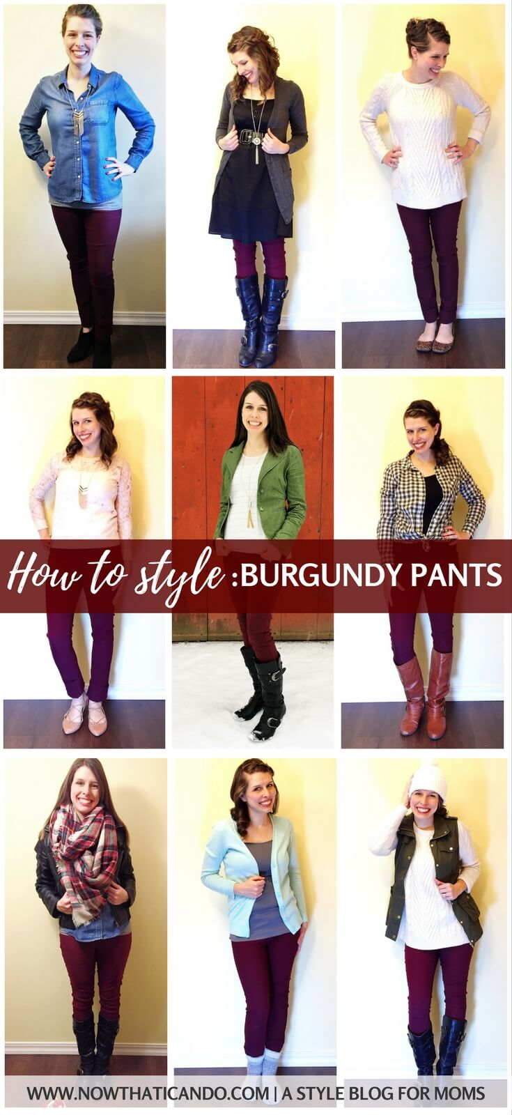 Don't know how to style your burgundy pants? Here are 9+ ways including helpful infographics on colors, patterns, and shoes to wear with burgundy pants. Written with moms in mind. Click through for more and a free printable.