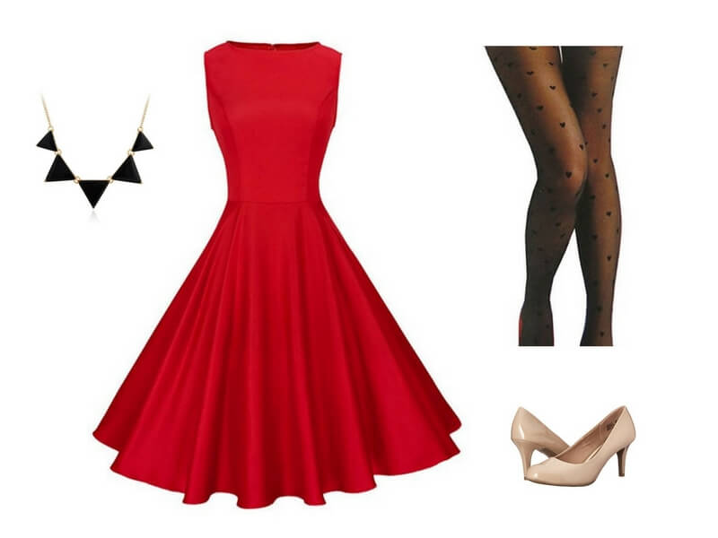 Easy date night outfit for moms: Classic Red A-Line Dress + Black Geometric Statement Necklace + Hearts Pantyhose + Nude Pumps