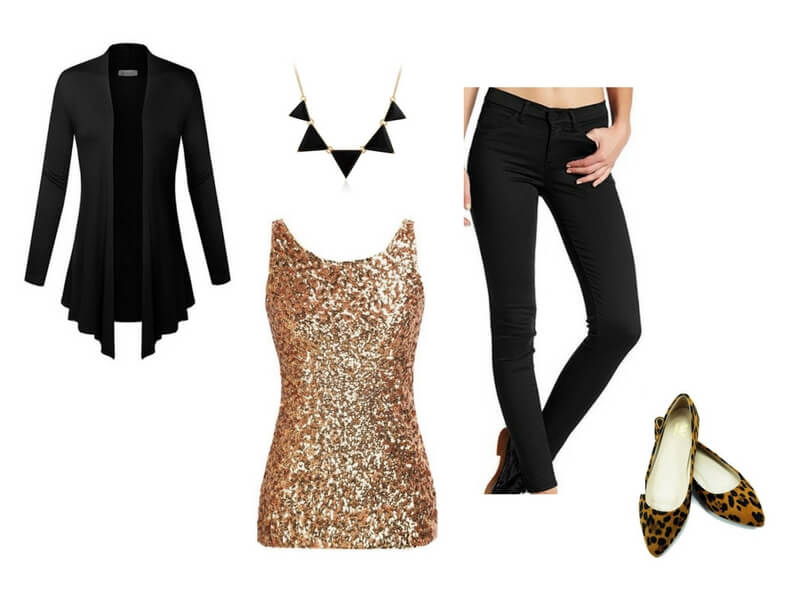 Easy date night outfit for moms: Gold Sequin Top + Black Cardigan + Statement Geometric Necklace + Black Skinny Pants + Leopard Flats