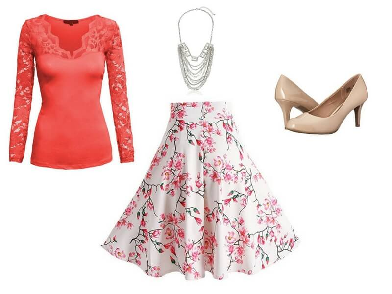 Easy date night outfit for moms: Lace Detail Shirt (tucked) + Floral A-line Skirt + Statement Necklace + Nude pumps