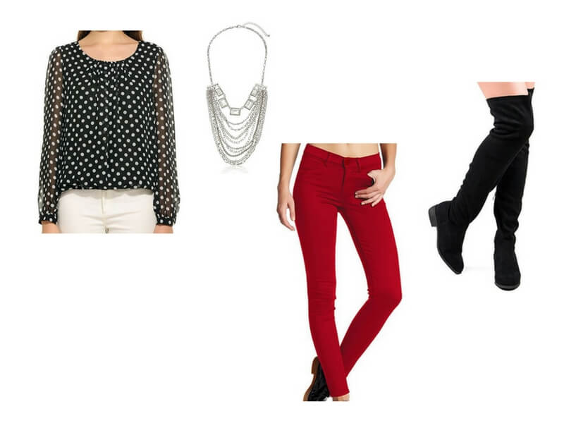 Easy date night outfit for moms: Black & White Polka Dot Blouse + Statement Necklace + Red Skinny Pants + Black Over the Knee Boots