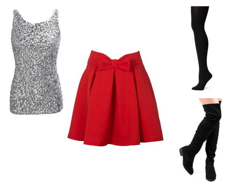 Easy date night outfit for moms: Silver Sequin tank + Red Skater Skirt + Black Tights + Black Over The Knee Boots