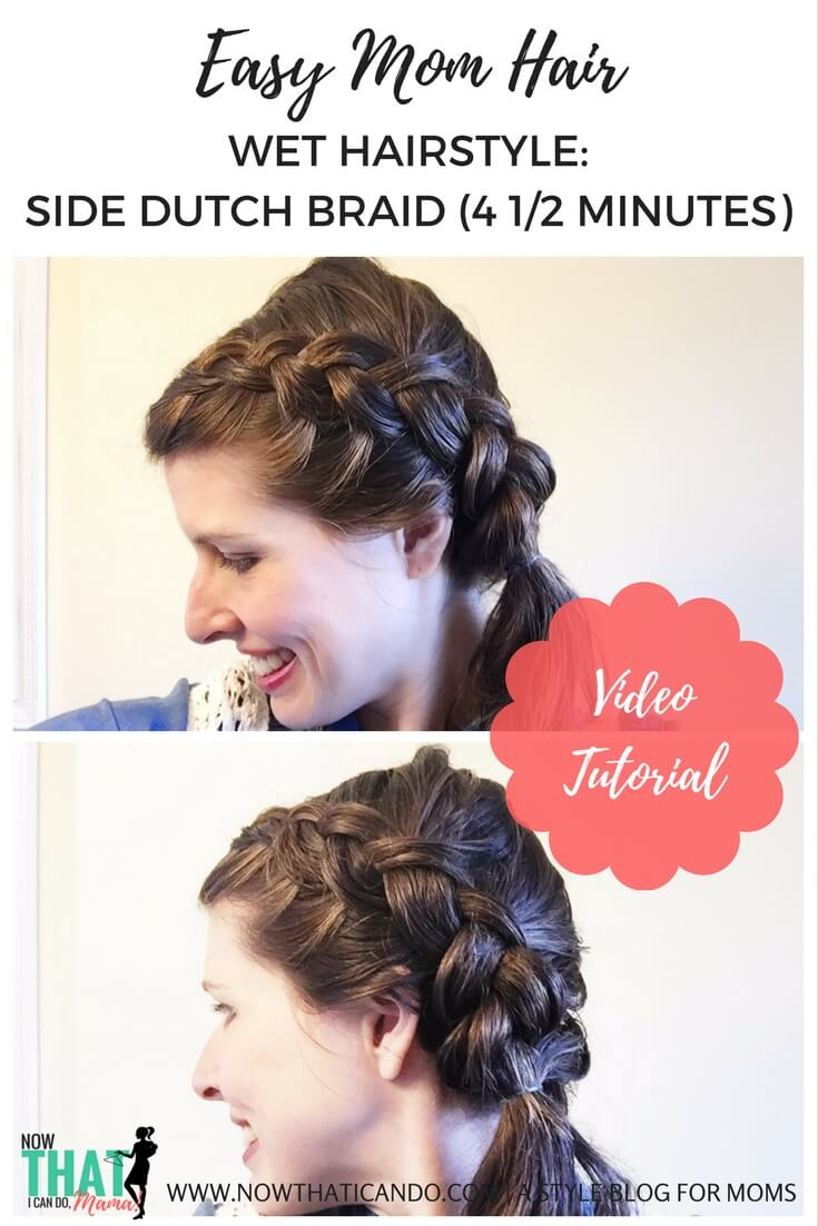 This hairstyle takes under 5 min and can be done right out of the shower with wet hair! It's a must for moms. Video tutorial with steps! This style has become one of my absolute favorite go-to's when I don't have time to blow dry, straighten or curl my hair. And the hairdo looks great even after your hair has dried!