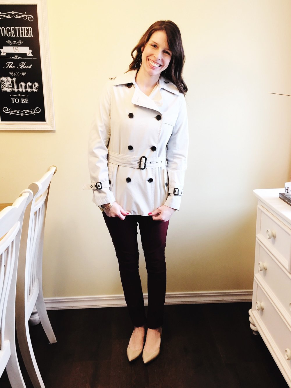 I found this banana republic trench coat at a consignment shop for $18.99