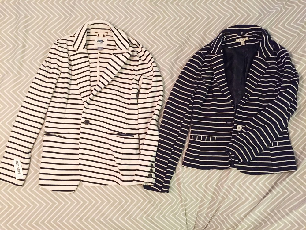 L: Old Navy Blazer (Returned)  R: Consignment find (KEPT)