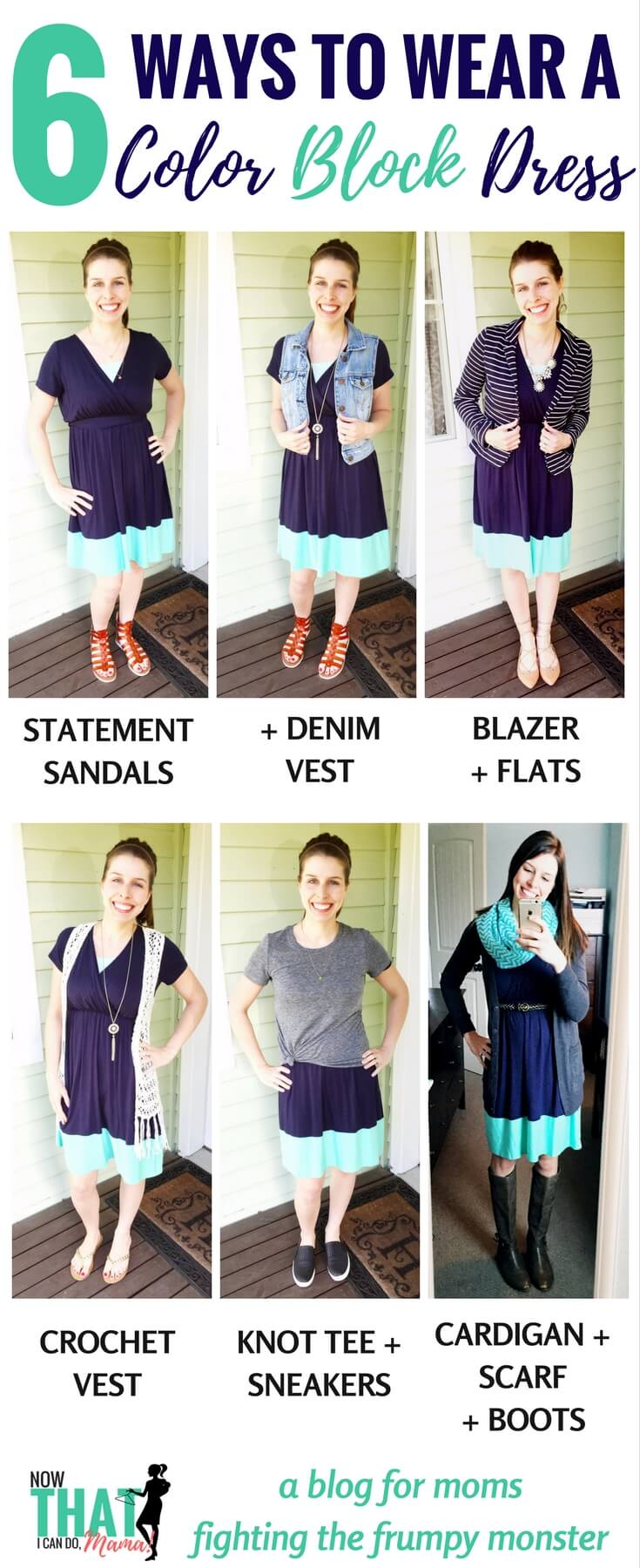 Colorblock trend is beautiful! Easy mom outfits made from one color block (navy/mint) dress from Pink Blush.
