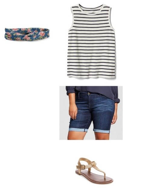 easy casual summer outfit for moms: denim shorts + stripe tank + floral headband + thong sandals