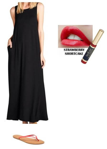 easy summer outfit for moms, black maxi dress + red lips + flip flops