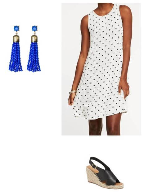flowy dress + wedge sandals + fun earrings