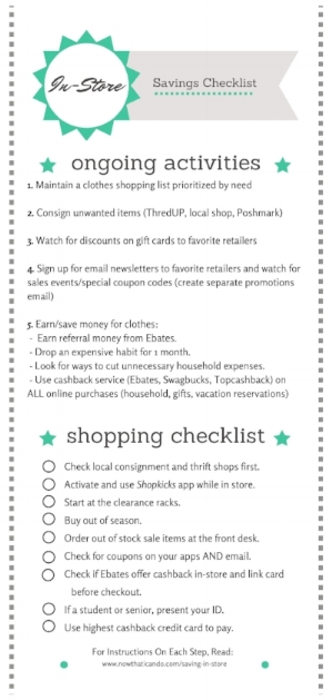 Free printable checklist on all the ways you can stack discount savings when you shop for clothes in stores.