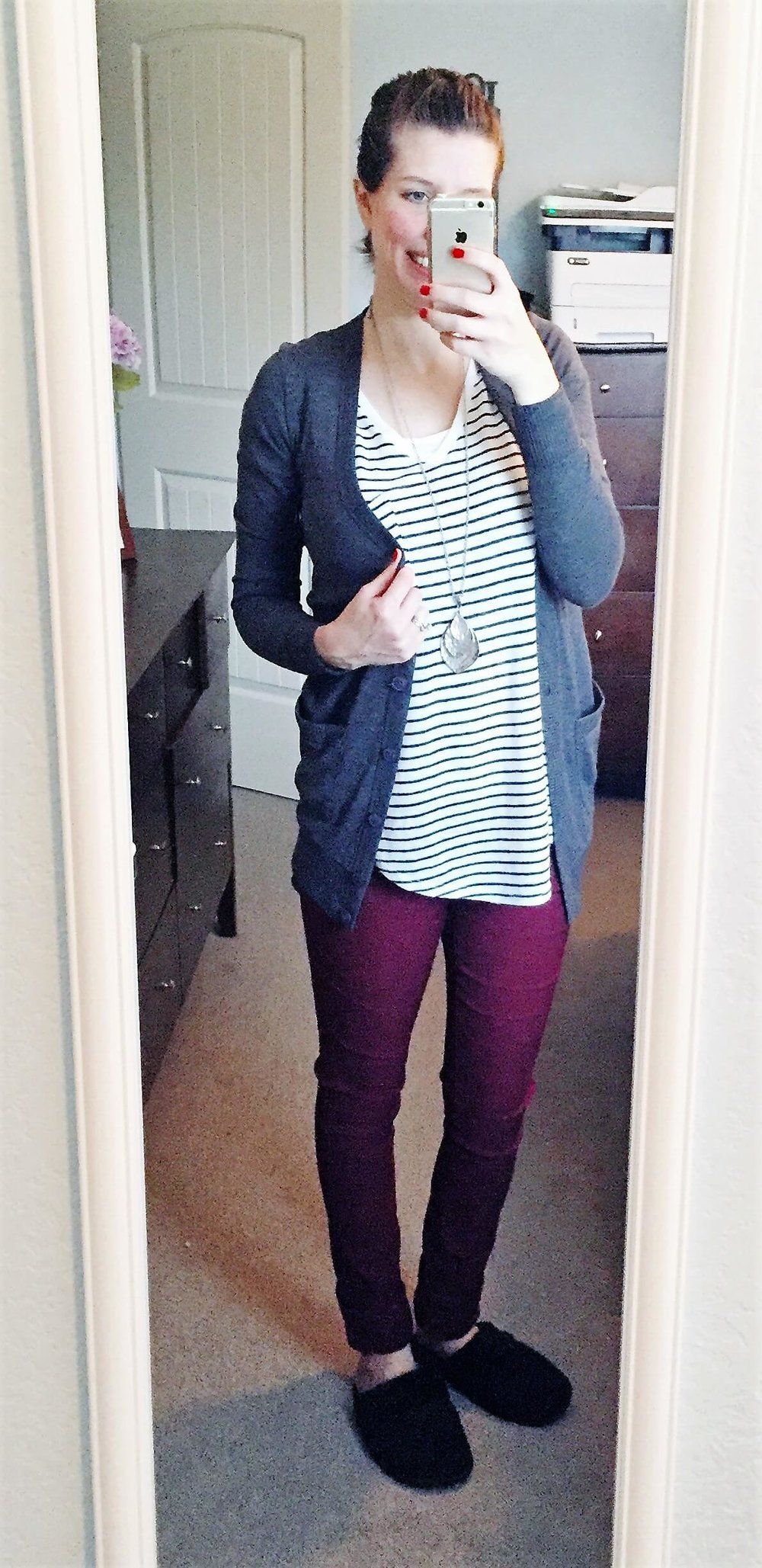 Striped Tunic + Boyfriend Cardigan + Pendant Necklace + Warm Slippers :)