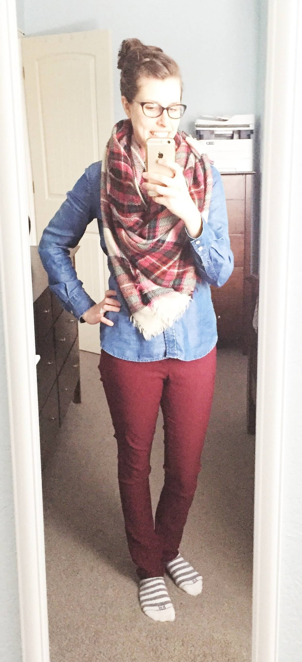 Chambray Top + Plaid Blanket Scarf + Cute Socks :)