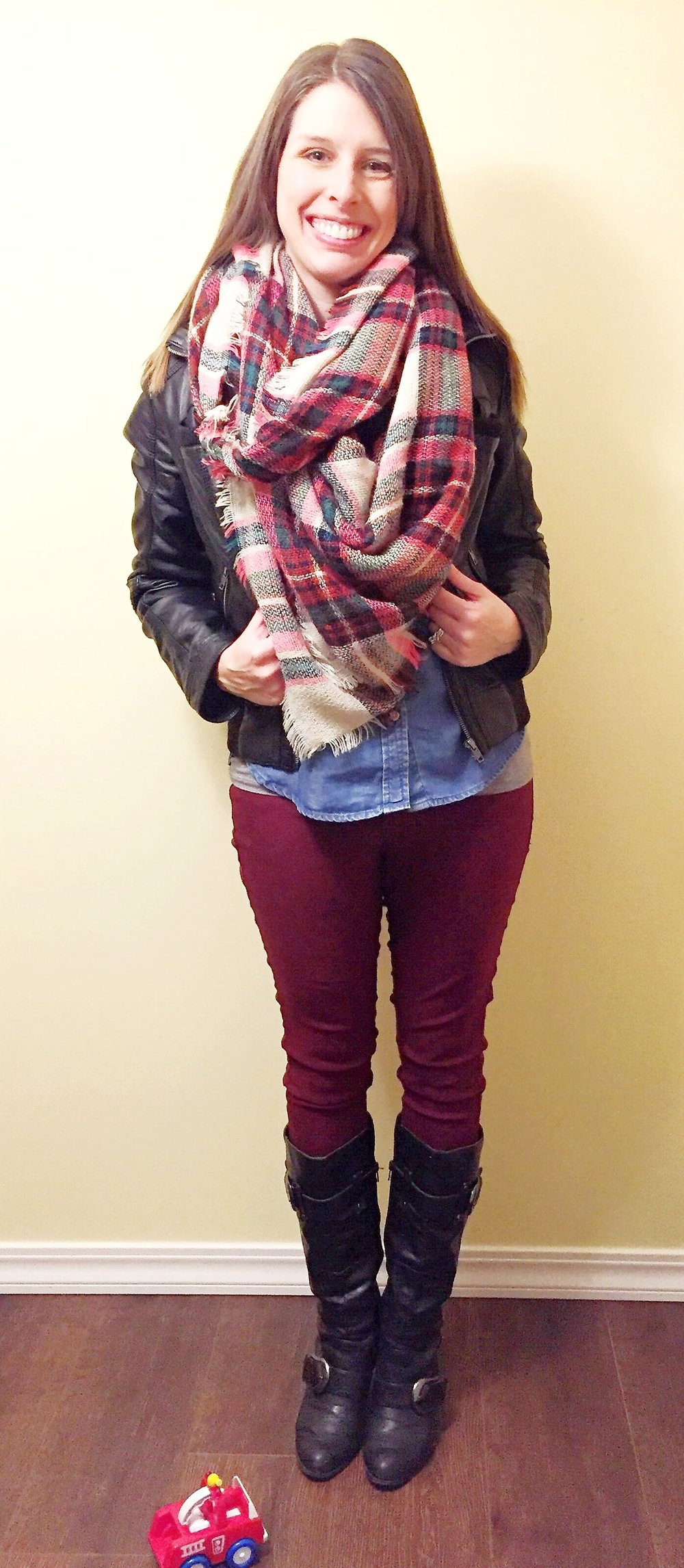 Chambray + Blanket Scarf + Leather Jacket + Black Boots