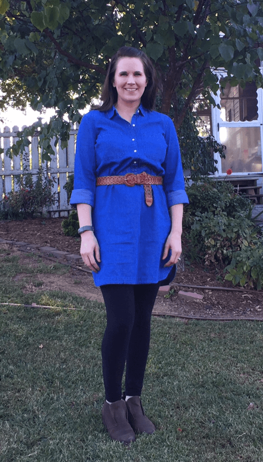 Chambray Dress + Leggings + Ankle Boots + Belt - Having a hard time styling your #leggings? Moms just like you modeling how to wear leggings - non-frumpy, mom friendly, cute, chic fashion!  #mom #fashion #outfits #tips # ideas #easy #clothes #style