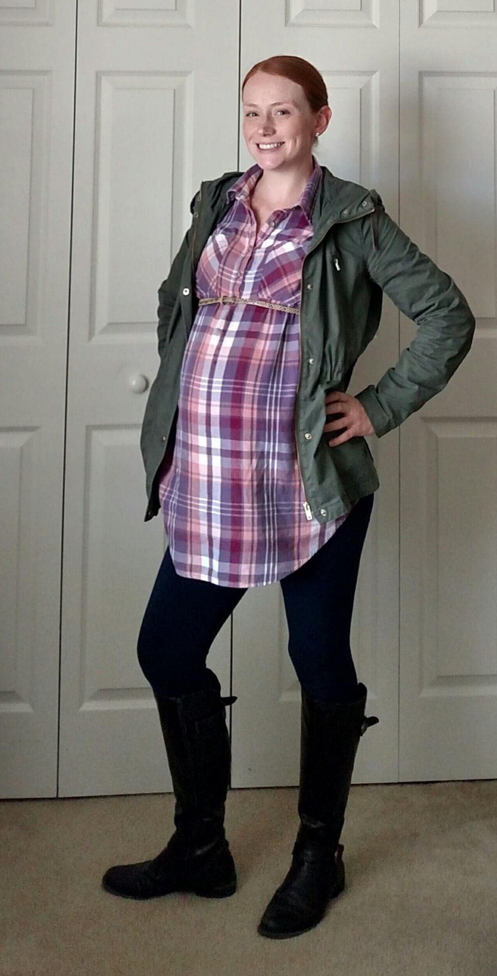 Plaid Button Up + Leggings + Riding Boots + Utility Jacket - Having a hard time styling your #leggings Moms just like you modeling how to wear leggings - non-frumpy, mom friendly, cute, chic fashion!  #mom #fashion #outfits #tips # ideas #easy #clothes #style