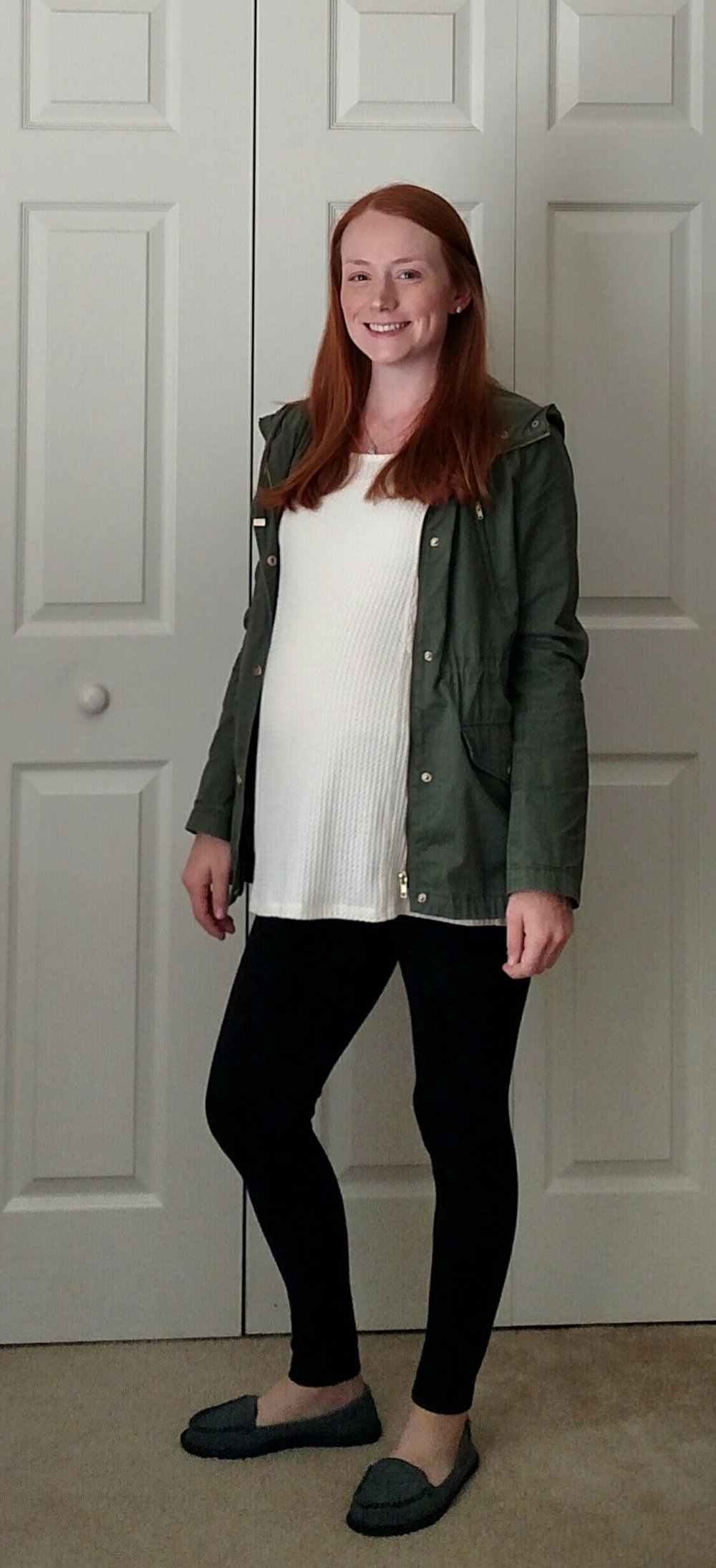 Tunic Top + Leggings + Slip On Sneakers + Utility Jacket - Having a hard time styling your #leggings Moms just like you modeling how to wear leggings - non-frumpy, mom friendly, cute, chic fashion!  #mom #fashion #outfits #tips # ideas #easy #clothes #style