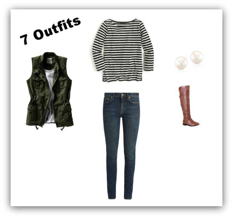 Outfit #1 Striped Tee + Jeans + Utility Vest + Stud Earrings + Riding Boots.png