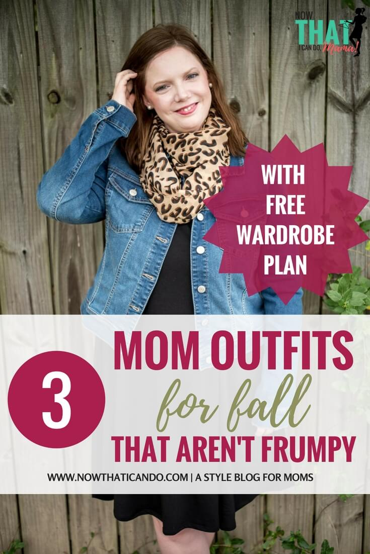 Comfy but stylish mom outfit ideas for fall. These outfits are fashionable but not too trendy! They are all created from a wardrobe capsule-like plan for moms created by the blog. Such a helpful guide for not looking frumpy! And I love the guest blogger's boutique... cute stuff that is actually affordable! Shows you how to style a simple black dress, leopard scarf, denim jacket, striped swing dress, utility vest, plaid scarf, and tunic top! #fall #easy #clothes #mom #fashion #outfits #tips