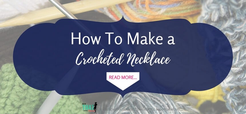 Step-by-step instructions. Crochet detail is popular right now in fashion! If you love to crochet, try making this easy bead crocheted necklace to wear as a statement necklace! Here are the five easy steps. If you've crocheted before, you probably already have all the supplies you need! #diy #tutorial #crocheting #moms #fashion