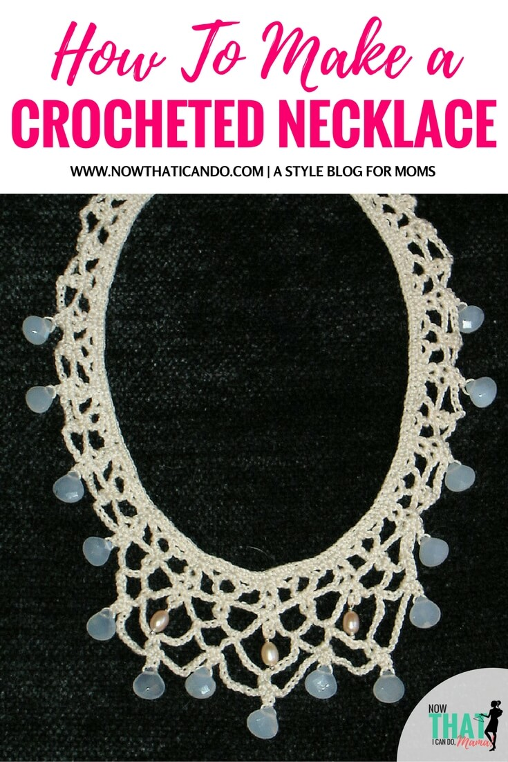 Crochet detail is popular right now in fashion! If you love to crochet, try making this easy bead crocheted necklace to wear as a statement necklace! Here are the five easy steps. If you've crocheted before, you probably already have all the supplies you need! #diy #tutorial #crocheting #moms #fashion