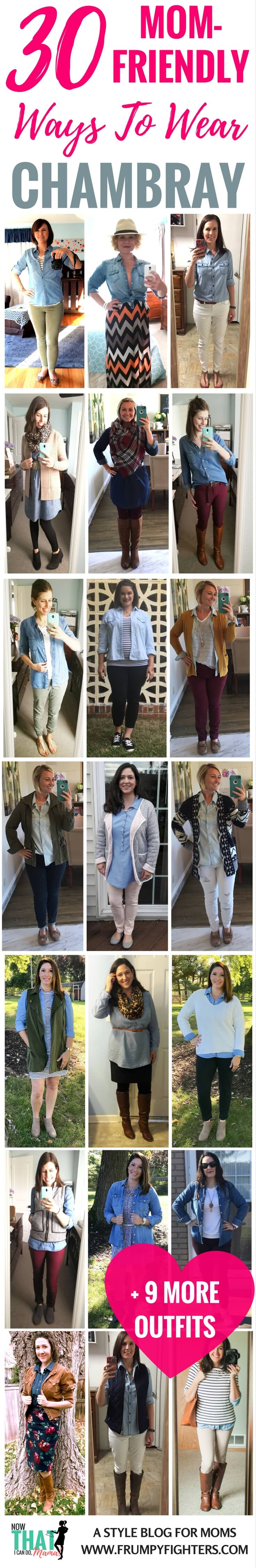 Tons of outfit ideas and ways to wear my chambray button-down shirt or denim dress... on lots of different mom models! Love these cute and chic ideas that are #modest and totally wearable. Whether cozy at home with the kids or running errands, these outfits are so easy to copy. Going to pin to reference in the morning! #momlife #fashion #style #clothes #fall #winter #spring #summer #outfits #chambray
