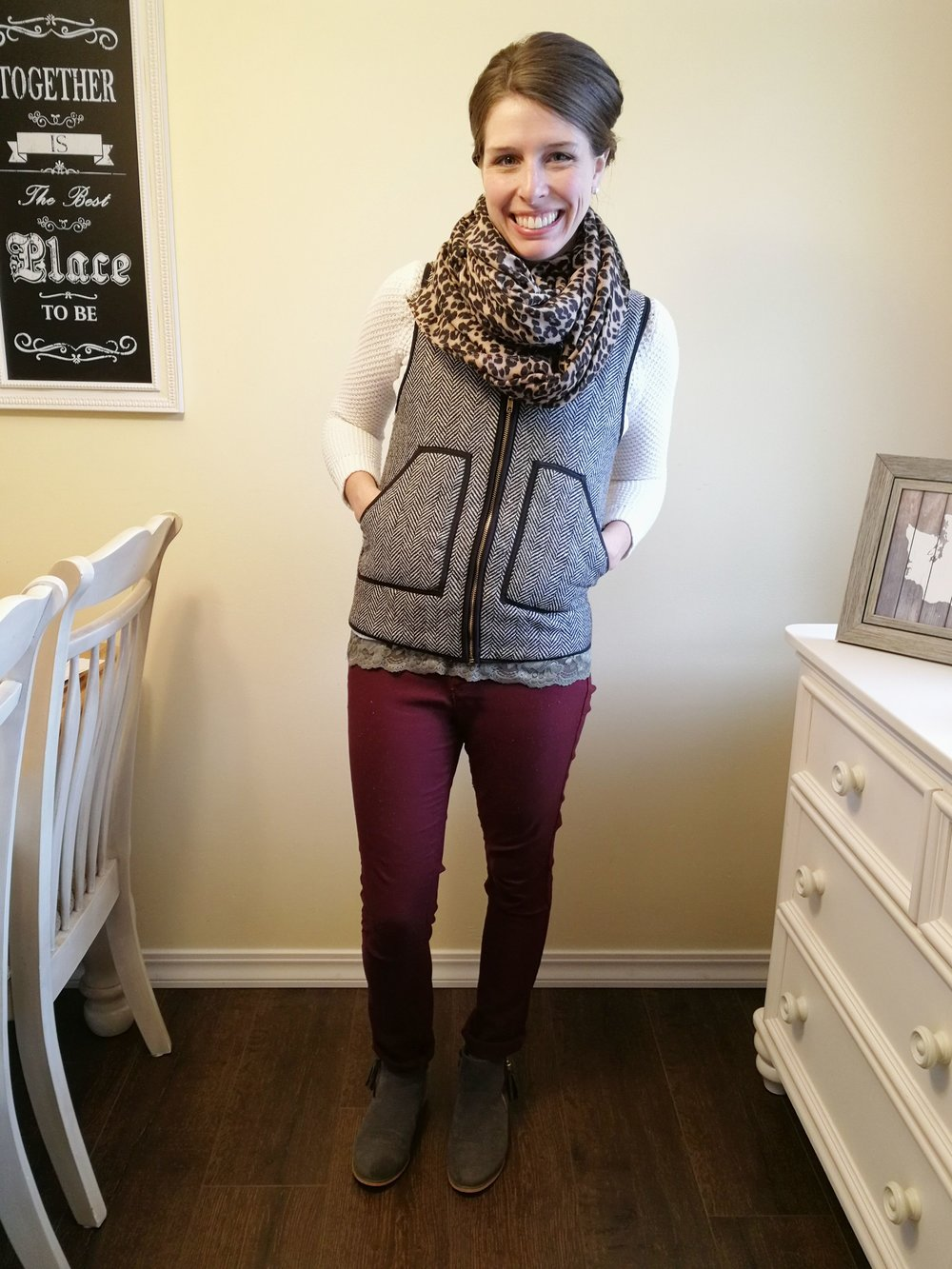 Knit Sweater + Lace Cami Underlayer + Herringbone Quilted Vest + Leopard Scarf + Ankle Boots