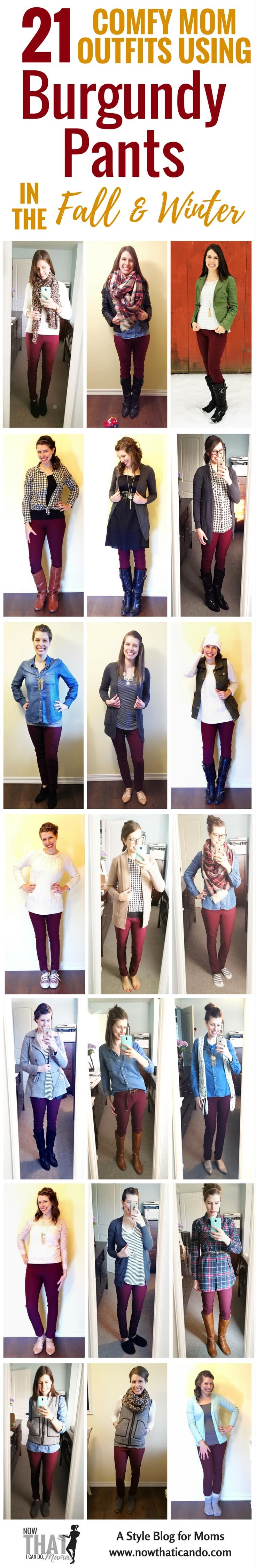 Are you a #mom and don't know what to wear with your wine #burgundy #pants? Here are 21 outfit ideas including infographics on colors, patterns, and shoes to style maroon/burgundy pants. Written with moms in mind! The blog post has lots of examples and gives this printable cheat sheet download for free! #style #outfits #winter #fall
