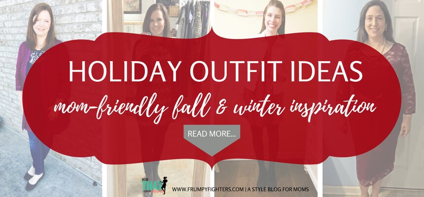 In need of some mom friendly holiday #outfit inspiration This blog has some great #tips and #ideas from other moms on how they #style themselves for all kinds of #holiday parties - casual to formal! #mom #fashion #easy #clothes #thanksgiving #fall #Christmas