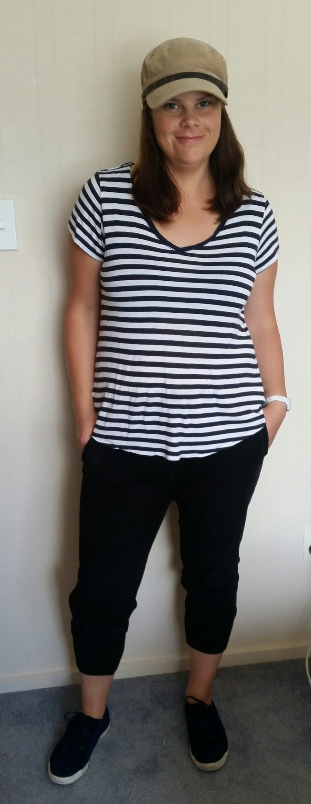 Credit: Angelene in  Frumpy Fighters   Joggers + Striped Tee + Sneakers + Hat