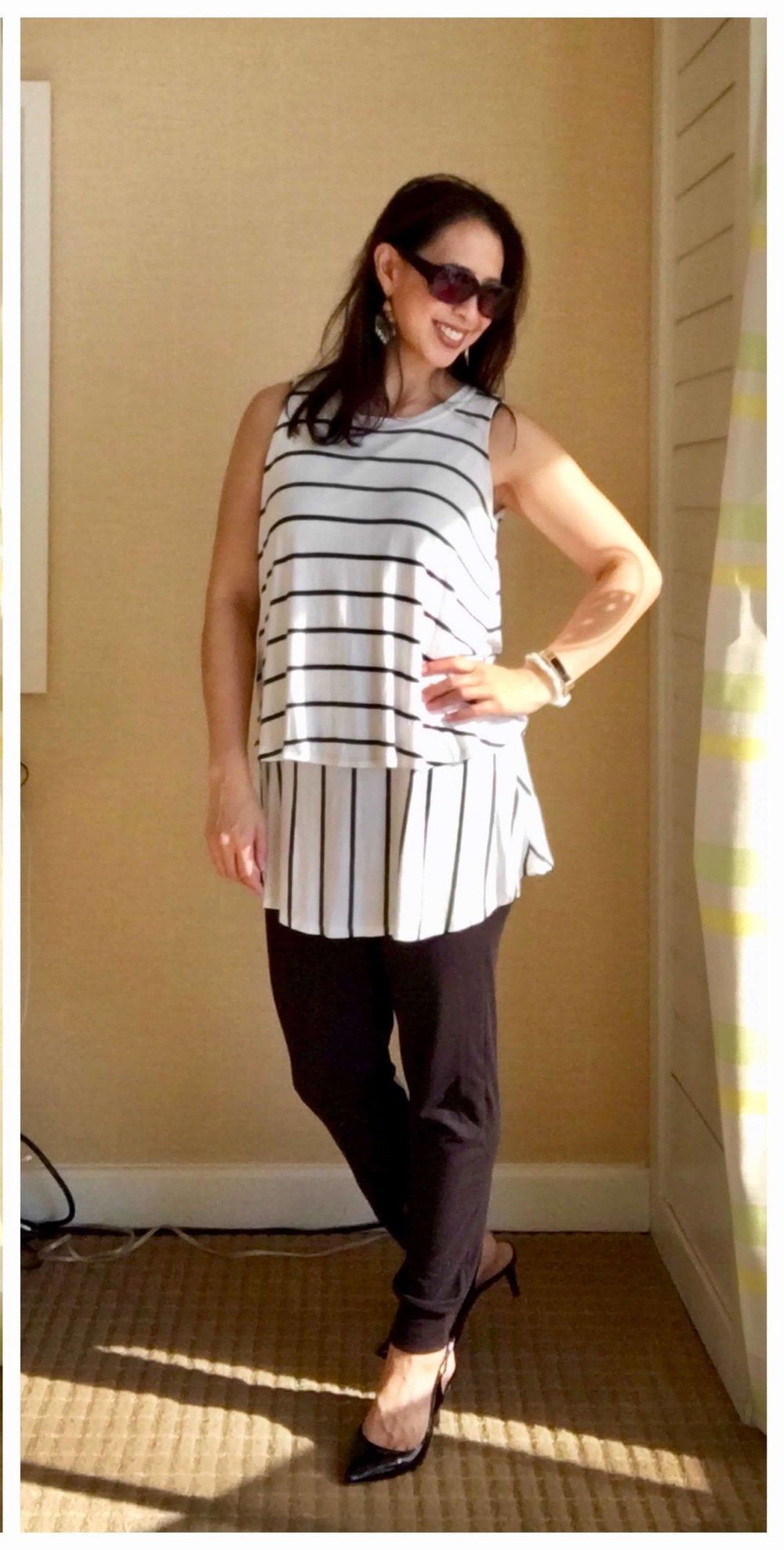 Credit: Rochelle in  Frumpy Fighters   Joggers + Dressy Top + Pumps + Statement Earrings  Check out Rochelle's website  here !