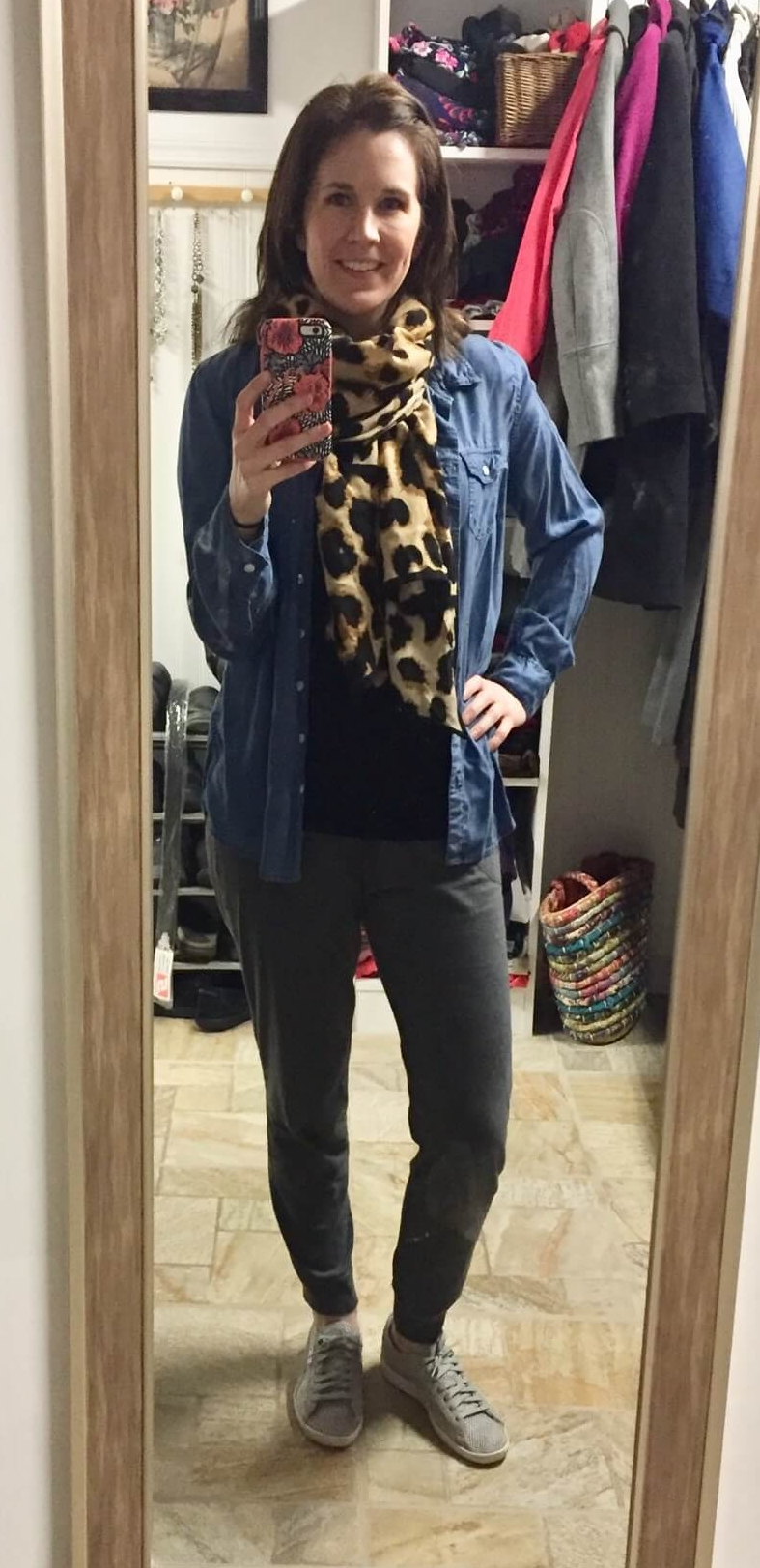 Credit: Jackie in  Frumpy Fighters   Joggers + Basic Tee + Chambray + Leopard Scarf + Sneakers