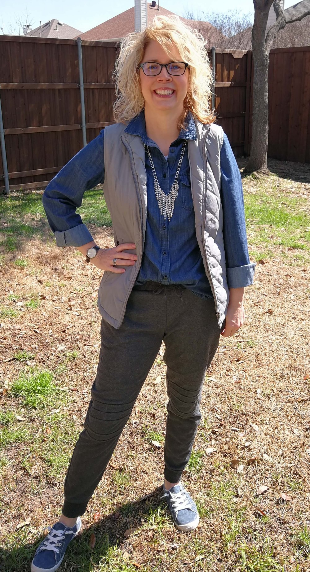 Credit: Lauren in  Frumpy Fighters   Joggers + Chambray + Vest + Sneakers + Statement Necklace