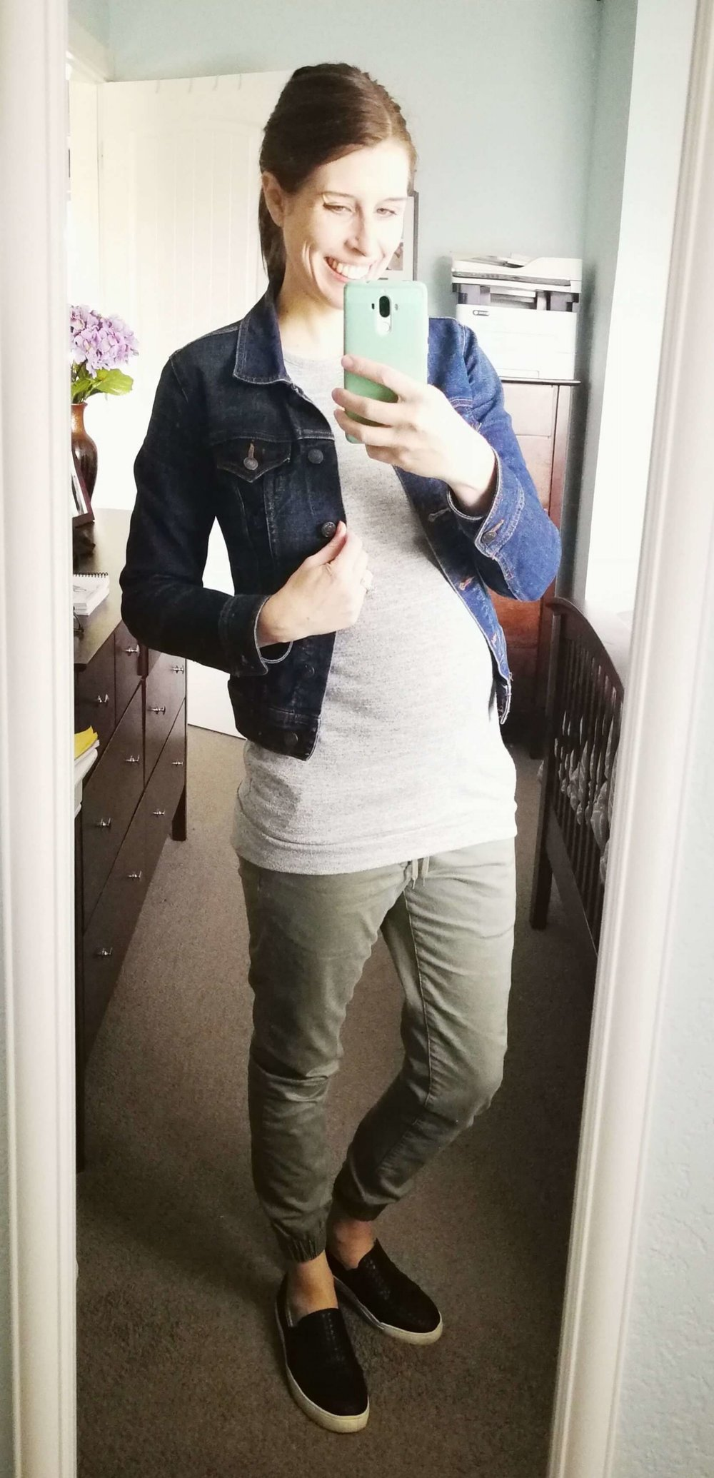 Joggers + Tunic Sweater + Jean Jacket + Slip Ons