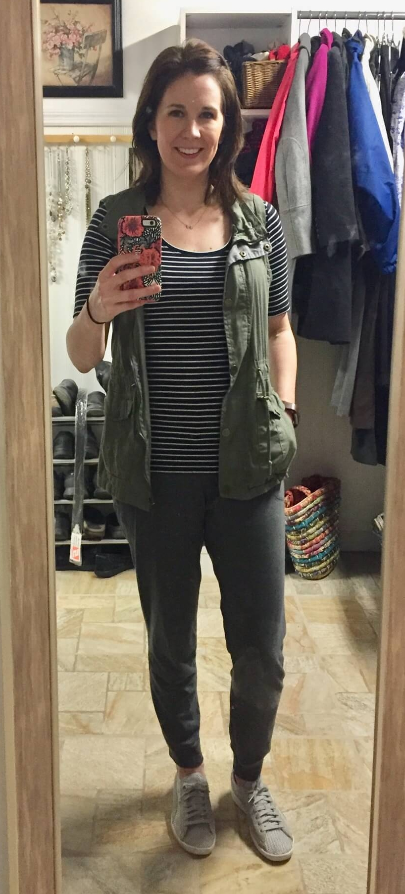 Credit: Jackie in  Frumpy Fighters   Joggers + Striped Tee + Utility Vest + Sneakers