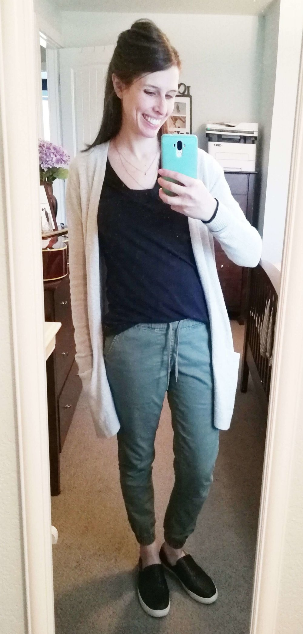 Joggers + Basic Tee + Neutral Boyfriend Cardigan + Slip Ons + Minimalist Necklace