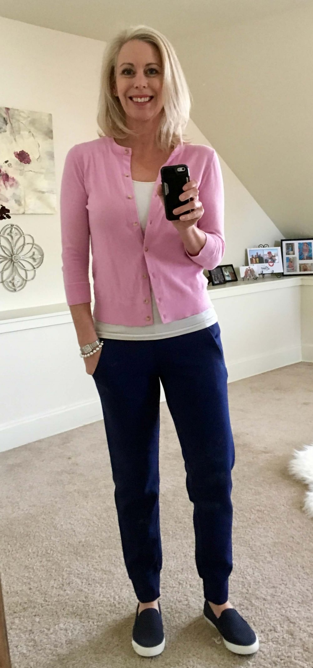 Credit: Shannon in  Frumpy Fighters   Joggers + Fitted Tank + Color Cardigan + Slip Ons  Check out Shannon's website  here .