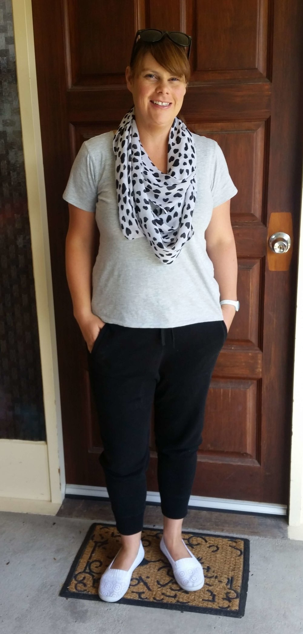 Credit: Angelene in  Frumpy Fighters   Joggers + Basic Tee + Airy Scarf + Slip Ons