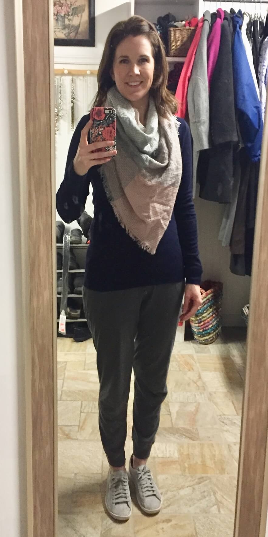 Credit: Jackie in  Frumpy Fighters   Joggers + Long Sleeve Navy Tee + Blanket Scarf + Sneakers